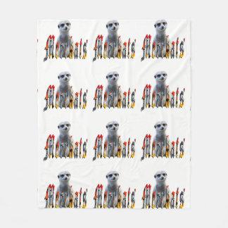 Meerkat y logotipo, manta blanca media del paño