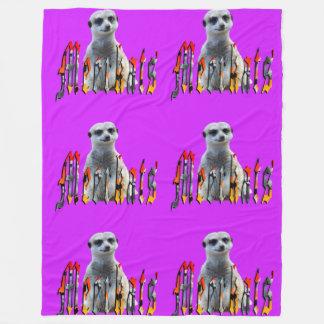 Meerkat y logotipo, manta púrpura grande del paño