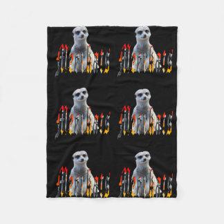 Meerkat y logotipo, pequeña manta negra del paño