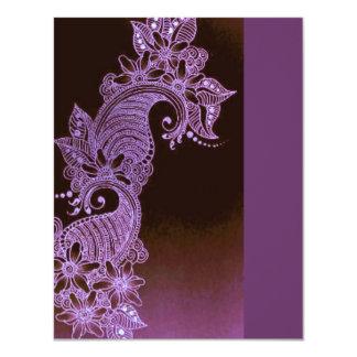 mehndi violeta 3 florales de la alheña invitación 10,8 x 13,9 cm