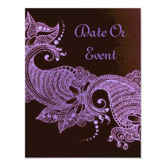 mehndi violeta de la alheña floral invitación 10,8 x 13,9 cm