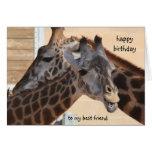 Mejor amigo del feliz cumpleaños de las jirafas, i tarjetón