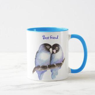 Mejor amigo, pájaros azules del amor, taza de la
