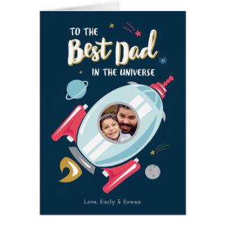 Tarjeta Mejor en la tarjeta del día de padre del universo