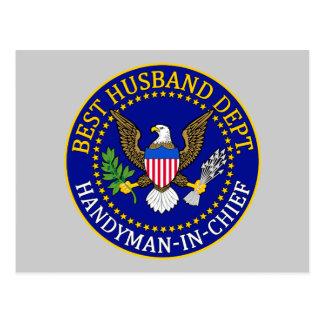 Mejor sello oficial del departamento del marido tarjeta postal