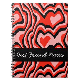 Mejores amigos para siempre: Corazones, amor, abra Cuaderno