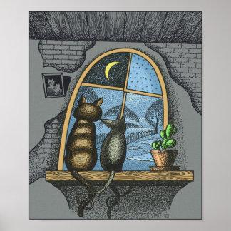 Mejores amigos para siempre, gato y ratón, póster