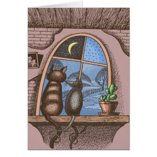 Mejores amigos para siempre, gato y ratón, tarjeta de felicitación
