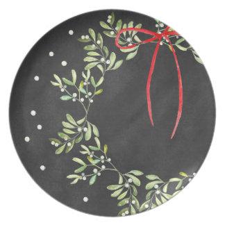 Melamina de la guirnalda de la placa del navidad plato de cena