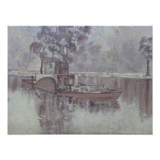 Melbourne - gabarra a lo largo del mural del río fotografía