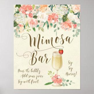 Melocotón de la muestra del boda de la barra del póster