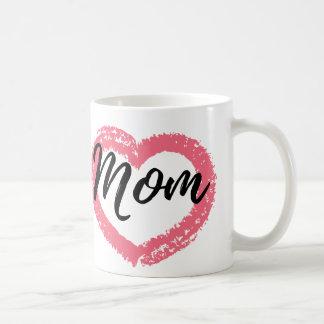 Melocotón del corazón del creyón de la mamá taza de café