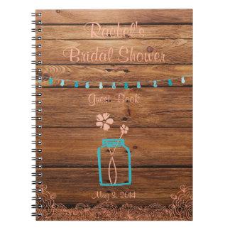 Melocotón nupcial rústico del cuaderno de la ducha