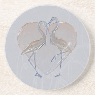 Melocotón y boda azul del grúa largo y feliz apoyavasos