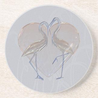 Melocotón y boda azul del grúa largo y feliz posavasos diseño