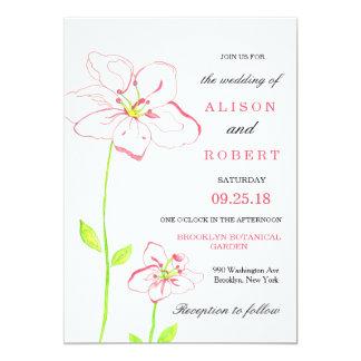 Melocotón y flores rosadas que casan la invitación