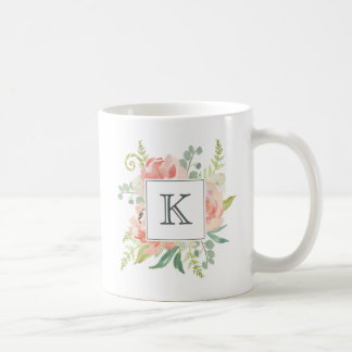 Melocotones y acuarela poner crema florales con el taza de café