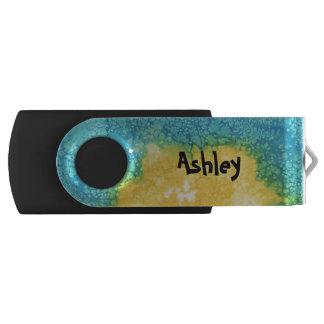 Memoria USB Acuarela azul/amarilla