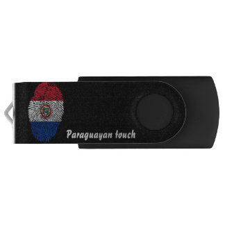 Memoria USB Bandera paraguaya de la huella dactilar del tacto