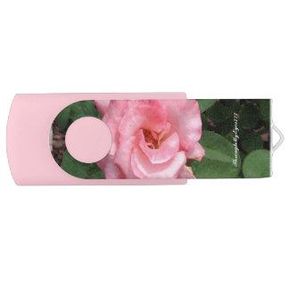 Memoria USB Color de rosa rosado de la naturaleza en el