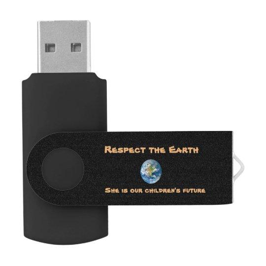 Memoria USB de la tierra del planeta del respecto