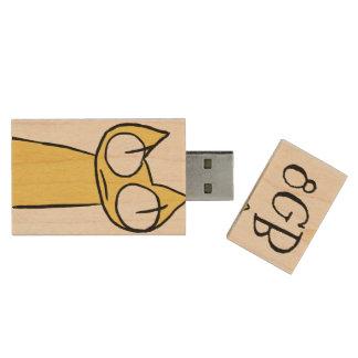 Memoria USB De Madera Amarillo, gatos el mirar fijamente del azul