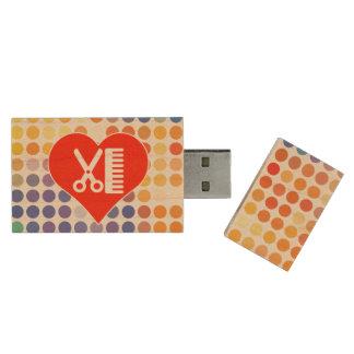 Memoria USB De Madera Amo al peluquero