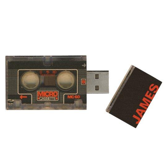 Memoria USB De Madera Cinta magnética para audio micro retra del casete