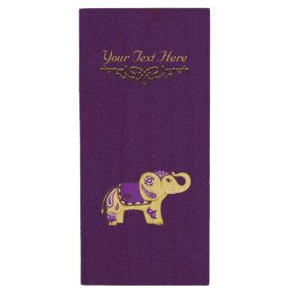 Memoria USB De Madera Elefante de la alheña (amarillo/púrpura)