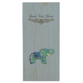 Memoria USB De Madera Elefante de la alheña (azul/azul claro)