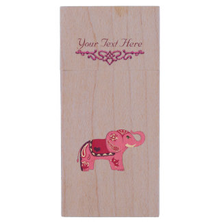 Memoria USB De Madera Elefante de la alheña (rosa/púrpura)