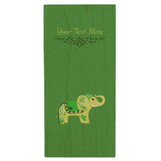 Memoria USB De Madera Elefante de la alheña (verde/verde lima)