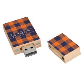 Memoria USB De Madera Monograma del nombre de la tela escocesa del