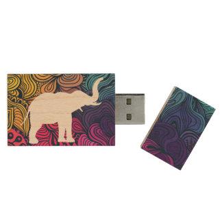 Memoria USB De Madera Pictograma de los dibujos del elefante