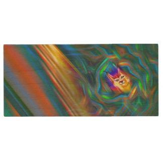 Memoria USB De Madera Retrato psicodélico del lince del flujo del color