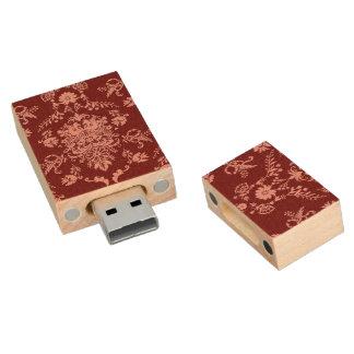 Memoria USB De Madera Rosa en el damasco marrón