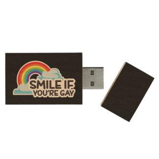 Memoria USB De Madera Sonría si usted es orgullo gay del arco iris LGBT