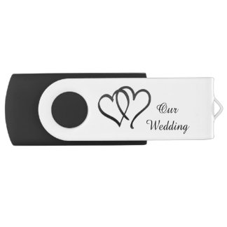 Memoria USB doble blanco y negro del boda del