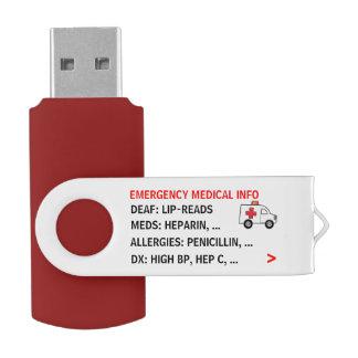 Memoria USB Emergencia móvil Info médico (personalizada)