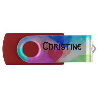 Memoria USB Eslabón giratorio 8 GB custumizable USB, ROJO