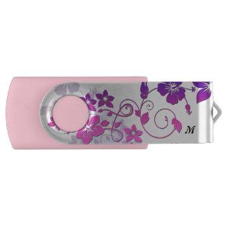 Memoria USB floral del eslabón giratorio del rosa