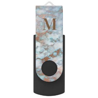 Memoria USB Mármol azul claro y gris con monograma
