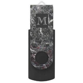 Memoria USB Mármol gris oscuro y blanco con monograma