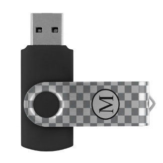 Memoria USB Monograma simple con el tablero de damas gris