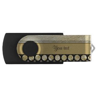 Memoria USB Oro y rayas negras y puntos del brillo