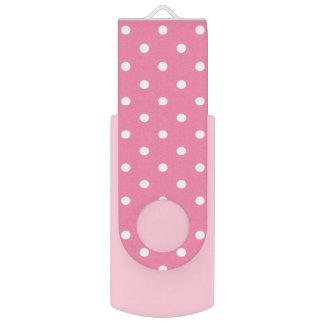Memoria USB Pequeños lunares blancos en rosas fuertes