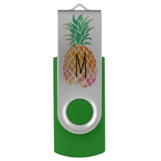 Memoria USB piña de la acuarela del monograma