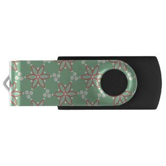 Memoria USB Puntos retros del estilo con la flor naranja-roja