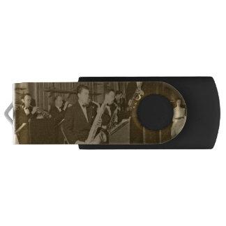 Memoria USB Saxofón del big band de la foto del vintage