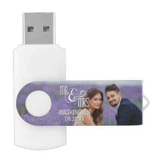 Memoria USB Sr. y señora Wedding Keepsake, 2 fotos